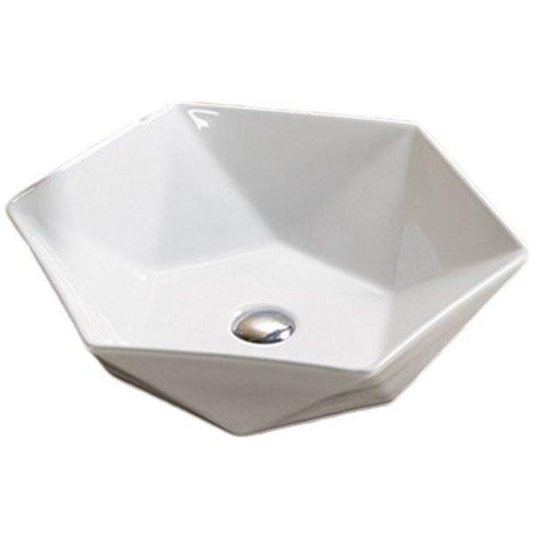Lavabo-vasque d'American Imaginations, forme ronde, 18,43 po x 18,43 po, blanc