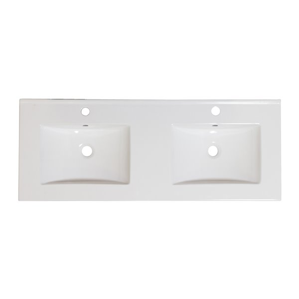American Imaginations Xena Bathroom Vanity Top Set with Modern Faucet- Double Sink - 59-in - White Ceramic