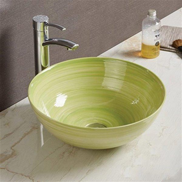 American Imaginations Vessel Bathroom Sink - 14.09-in x 14.09-in - Green
