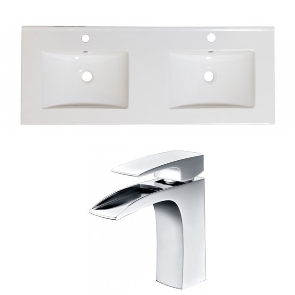 American Imaginations Xena Bathroom Vanity Top Set - Double Sink - 48-in - White Ceramic and Chrome