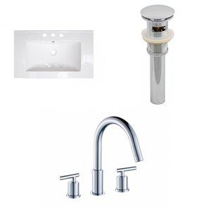 Ensemble lavabo simple Roxy d'American Imaginations, robinet et drain, 32 po, céramique blanche