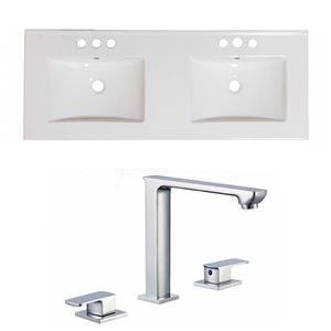 Ensemble lavabo double Xena d'American Imaginations, robinet à 2 poignées, 59 po x 18 po, céramique blanche