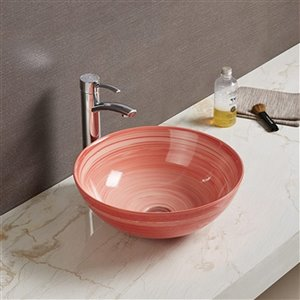 American Imaginations Vessel Bathroom Sink - Round Shape - 16.34-in - Red