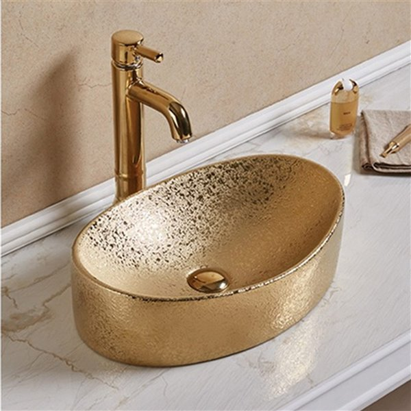 American Imaginations Vessel Bathroom Sink - Oval Shape - 20.47-in x 13.19-in - Gold