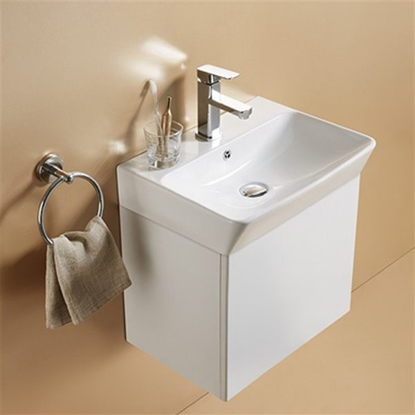American Imaginations Rectangular Vessel Bathroom Sink - 23.81-in x 13.97-in - White