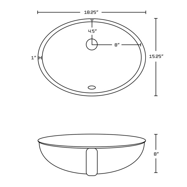 Lavabo à encastrer d'American Imaginations, forme ovale, 18,25 po, blanc