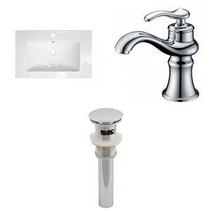 Ensemble lavabo blanc Roxy d'American Imaginations, robinet et drain, 24,25 po x 18,25 po