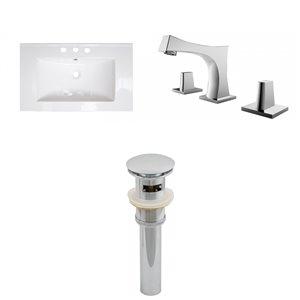 Ensemble lavabo simple Roxy d'American Imaginations, robinet et drain, 32 po x 18,25 po, blanc