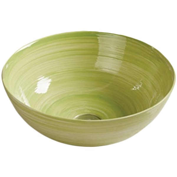 American Imaginations Vessel Bathroom Sink - Round Shape - 14.09-in - Green