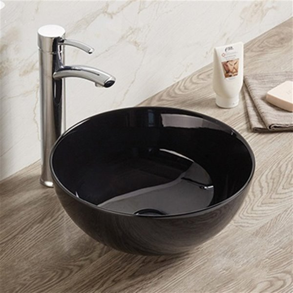 American Imaginations Round Bathroom Sink without Overflow Drain - 14.09-in x 14.09-in - Black