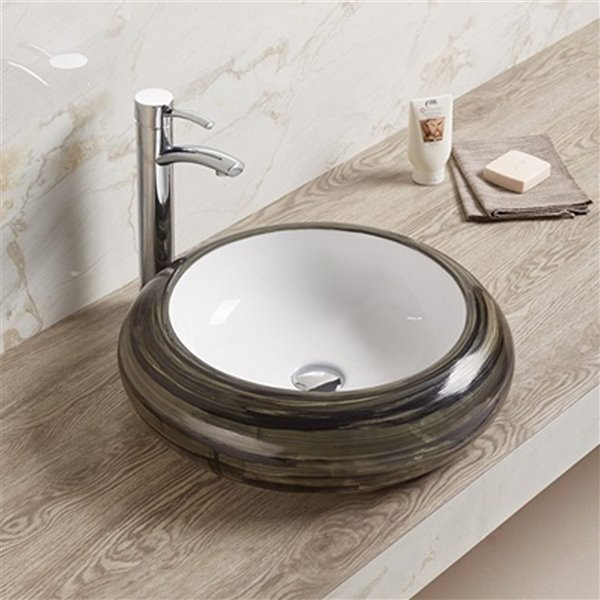 American Imaginations Vessel Bathroom Sink - Round Shape - 19.3-in - Brown/White