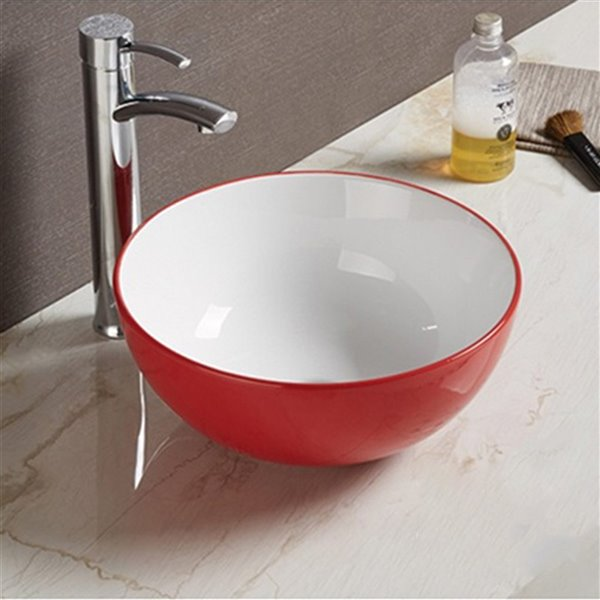 American Imaginations Vessel Bathroom Sink - Round Shape - 14.09-in - Red/White