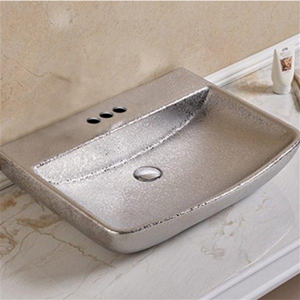 American Imaginations Rectangular Vessel Bathroom Sink - 23.62-in - Silver