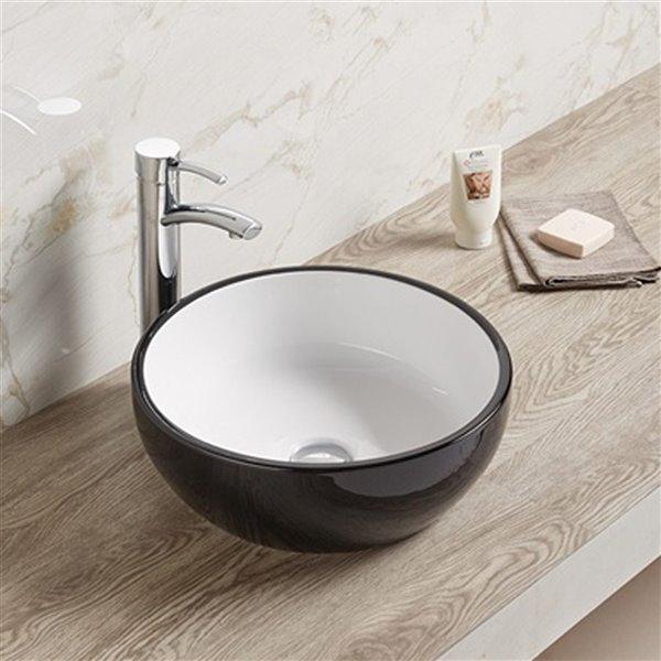 American Imaginations Round Vessel Bathroom Sink - 16.14-in - Black