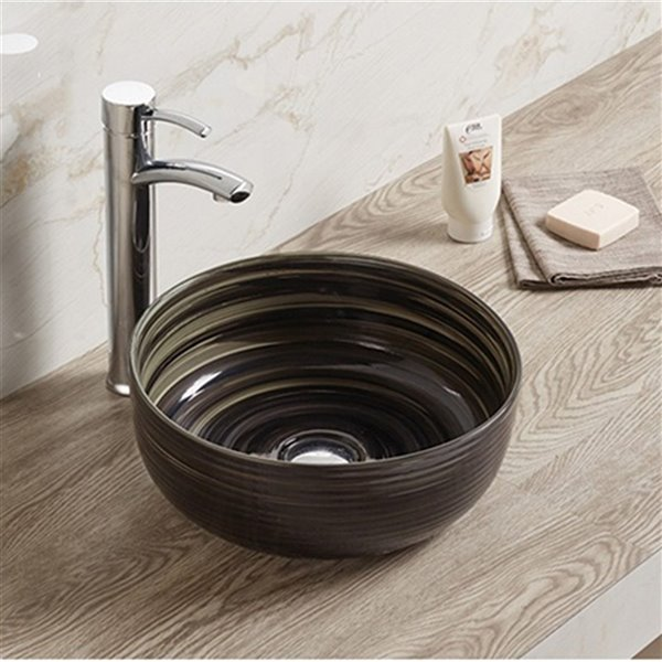 American Imaginations Vessel Bathroom Sink - without Overflow - 14.09-in x 14.09-in - Black