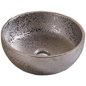 American Imaginations Vessel Bathroom Sink - Round Shape - 16.14-in - Silver