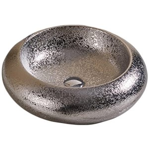 American Imaginations Vessel Bathroom Sink - Round Shape - 19.3-in - Silver