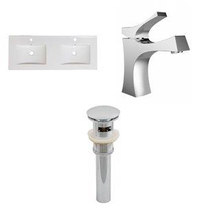 Ensemble lavabo double Xena d'American Imaginations, robinet et drain, 48 po, céramique blanche