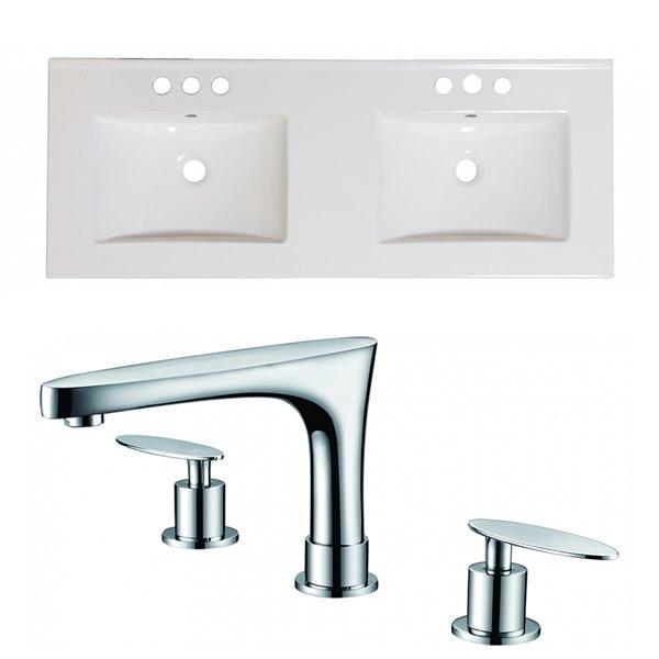 American Imaginations Xena Ultra-Modern Bathroom Vanity Top Set - Double Sink - 48-in - White Ceramic