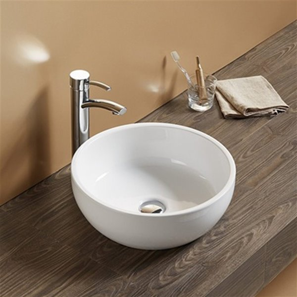 American Imaginations Vessel Bathroom Sink - Round Shape - 16.14-in - White