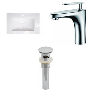 American Imaginations Roxy Bathroom Vanity Top Set - Single Sink - 24.25-in - White Ceramic