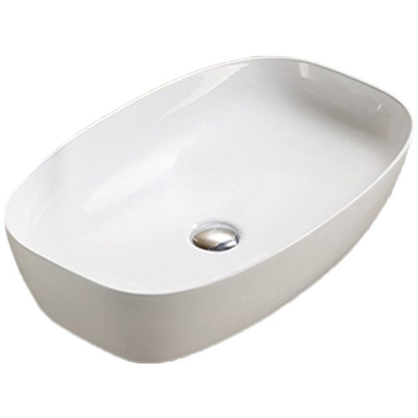 American Imaginations Vessel Bathroom Sink - Rectangular Shape - 23.62-in - White
