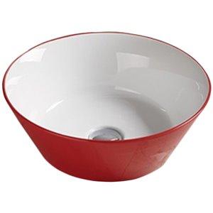 Lavabo-vasque d'American Imaginations, forme ronde, 15,9 po, rouge et blanc