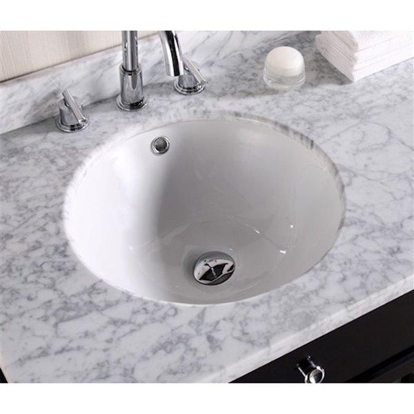 American Imaginations Undermount Bathroom Sink - Round Shape - 17-in x 17-in - White