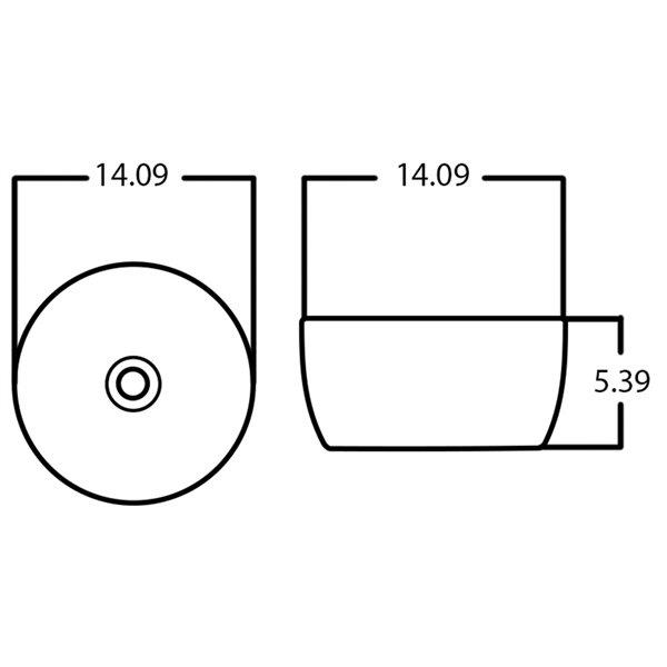 Lavabo-vasque rond d'American Imaginations, 14,09 po, noir