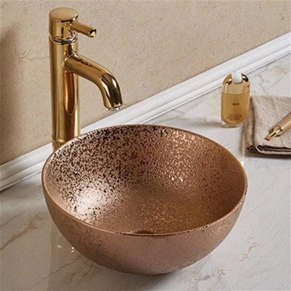 Lavabo-vasque d'American Imaginations, 14,09 po x 14,09 po, bronze