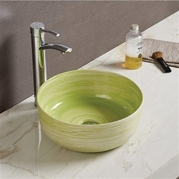 American Imaginations Vessel Bathroom Sink without Overflow - 14.09-in x 14.09-in - Green
