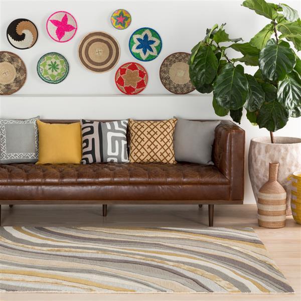 Surya Lounge Modern Area Rug - 8-ft x 10-ft - Rectangular - Gray/Yellow