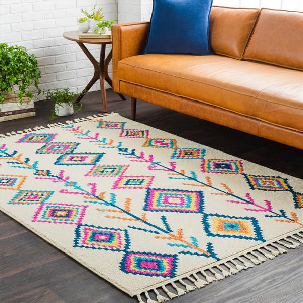 Surya Love Bohemian Area Rug - 7-ft 10-in x 10-ft - Rectangular - Ivory