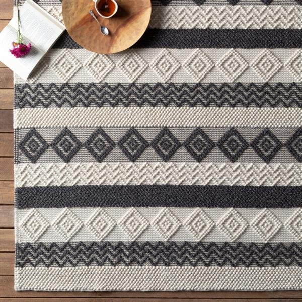 Surya Hygge Bohemian Area Rug - 8-ft x 10-ft - Rectangular - Charcoal