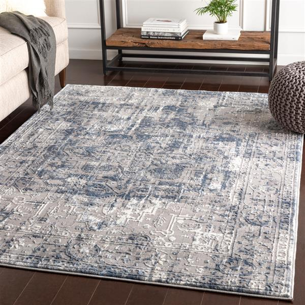 Surya Katmandu Updated Traditional Area Rug - 6-ft 7-in x 9-ft 6-in - Rectangular - Light Gray
