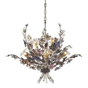 ELK Lighting Brillare Chandelier - 6-Light - Bronzed Rust and Floral Crystals