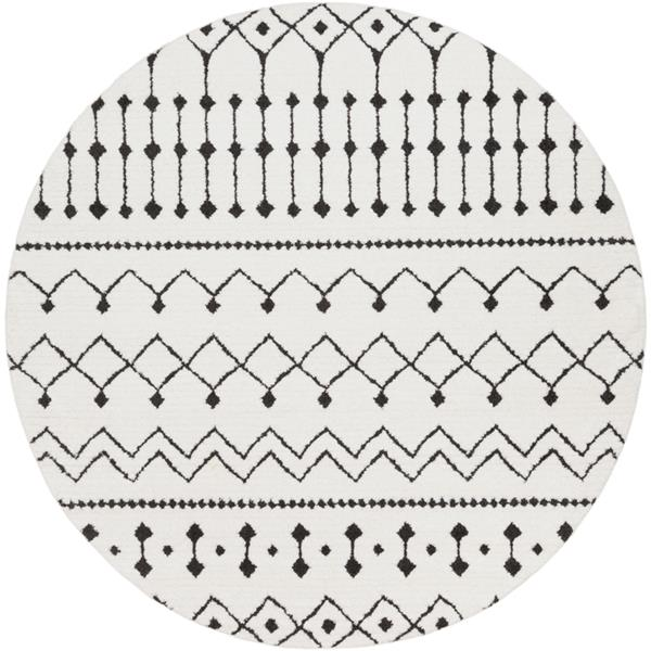 Surya Moroccan Shag Bohemian Area Rug - 6-ft 7-in - Round - White