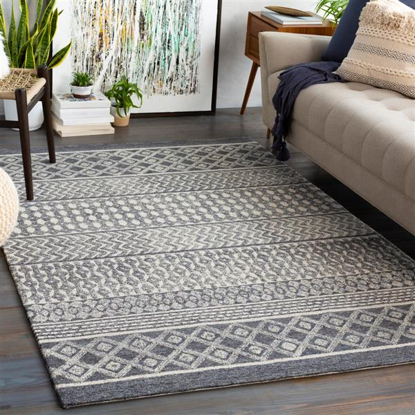Surya Maroc Bohemian Area Rug - 6-ft x 9-ft - Rectangular - Charcoal