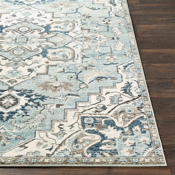 Surya Mesopotamia Updated Traditional Area Rug - 7-ft 10-in x 9-ft 10-in - Rectangular - Ivory/Teal