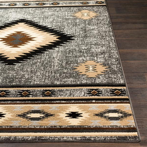 Surya Paramount Bohemian Area Rug - 7-ft 9-in x 11-ft 2-in - Rectangular - Charcoal