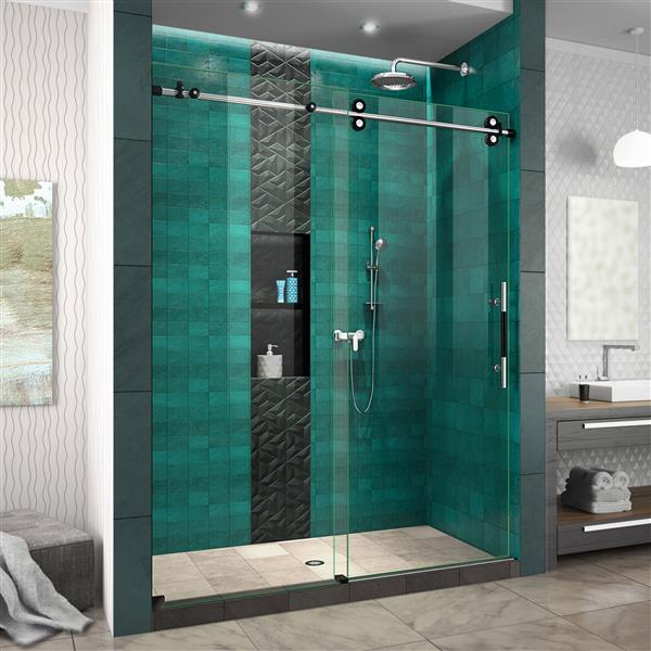DreamLine Enigma-XO Shower Door - Frameless Design - 56-60-in - Tuxedo