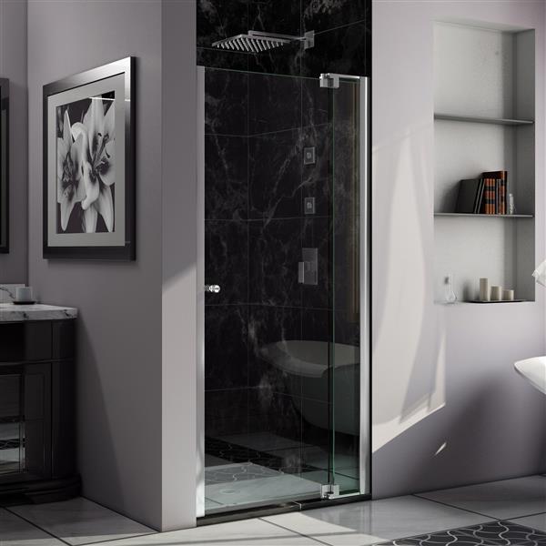 Porte de douche Allure de DreamLine, design sans cadre, 38-39 po, chrome