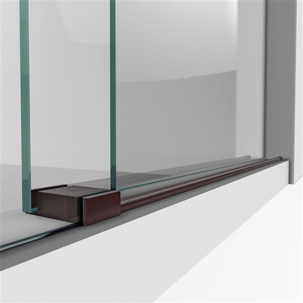 Porte de douche Enigma-XO de DreamLine, design sans cadre, 44-48 po, bronze huilé