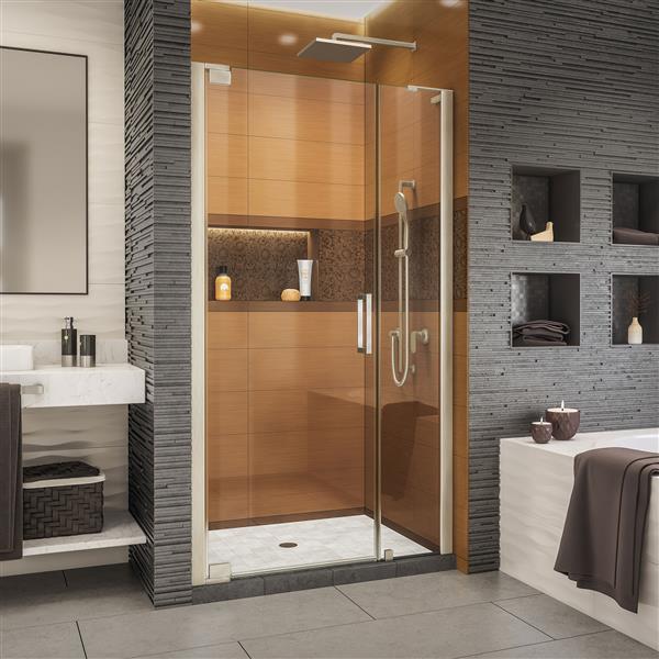 Porte de douche Elegance-LS de DreamLine, design sans cadre, 45,75-47,75 po, nickel brossé
