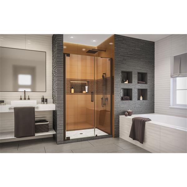 Porte de douche Elegance-LS de DreamLine, design sans cadre, 44,75-46,75 po, bronze huilé
