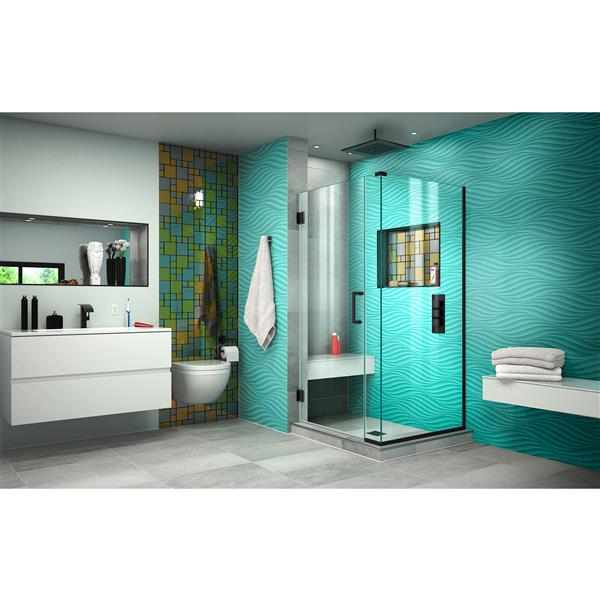 DreamLine Unidoor Plus Shower Enclosure - Frameless Design - 29-in - Satin Black