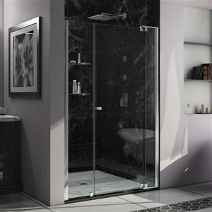 Porte de douche Allure de DreamLine, design sans cadre, 43-44 po, chrome