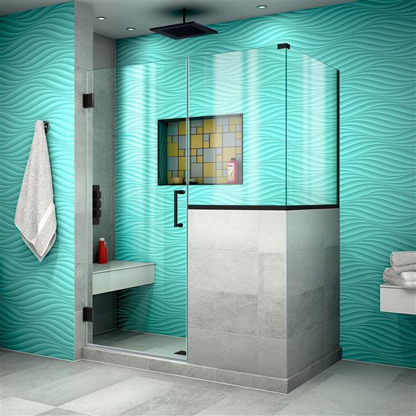DreamLine Unidoor Plus Hinged Shower Enclosure - Frameless Design - 48-in - Satin Black