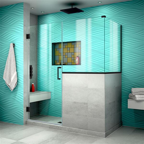 DreamLine Unidoor Plus Shower Enclosure - Hinged and Frameless Design - 59-in - Satin Black