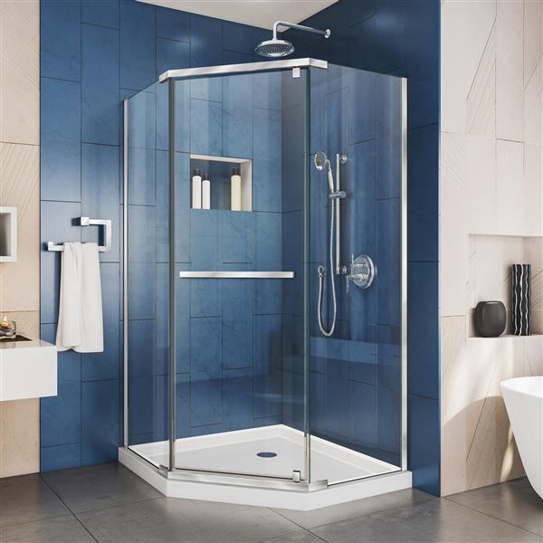 DreamLine Prism Shower Enclosure - Frameless Design - 40.13-in - Chrome